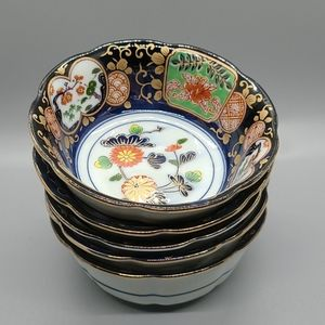BINTAGE ASIAN CHINOISERIE RICE BOWLS SMALL SET 5